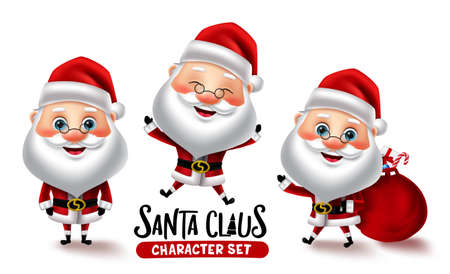 Santa claus character vector set. Christmas santa characters in different pose and gestures isolated in white background for xmas holiday cartoon collection design. Vector illustration