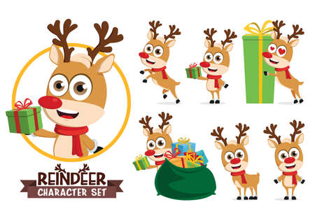 Reindeers character vector set. Reindeer characters in different gift giving pose and gestures isolated in white background for christmas holiday season cartoon design. Vector illustration