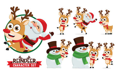 Reindeer vector characters set. Reindeers character like santa ride, skating, and playing with snowman pose and gestures isolated for christmas cartoon collection design. Vector illustration