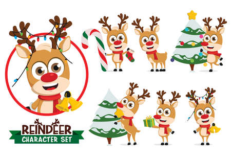 Reindeers vector character set. Reindeer characters in holding bell and candy cane, decorating christmas tree and gift giving for xmas season collection design. Vector illustration