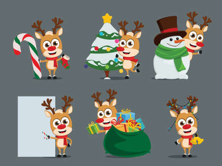 Reindeers character vector  set. Reindeer characters in different christmas activity pose and gestures like xmas tree decorating and gift giving for holiday season design. Vector illustration Illusztráció