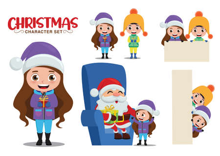 Christmas vector characters set. Christmas character kids in talking santa, holding gifts and white board isolated for xmas cartoon collection design. Vector illustration Stock fotó - 155439933