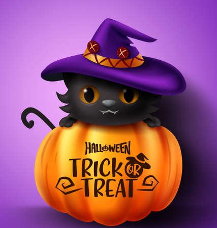 Halloween cat vector concept design. Halloween trick or treat text in pumpkin element with cute black cat character wearing hat in violet background for halloween design. Vector illustration