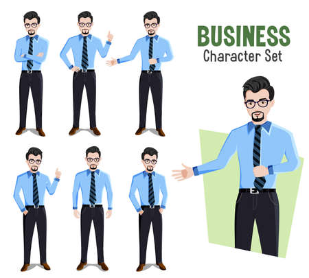 Business man vector characters set. Businessman male character in different standing pose and gestures like presenting and showing for company boss cartoon design collection. Vector illustration.
