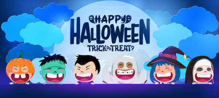 Halloween kid vector banner background design. Happy halloween text in moon and clouds with scary cute kids characters on rooftop balcony for trick or treat concept design. Vector illustration.