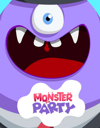 Monster party alien vector concept design. Monster party text in creepy weird character creature for kids horror birthday celebration greeting design. Vector illustration.