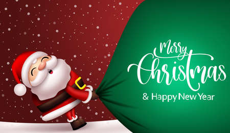 Christmas santa vector background design. Merry christmas and happy new year text with santa claus character pulling heavy sack of gifts for xmas season gift giving celebration. Vector illustration.