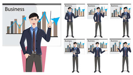 Business man presentation character vector set. Businessman male speaker characters in presenting pose and gestures for marketing presentation collection design. Vector illustration 向量圖像