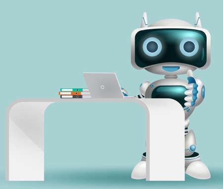 Robot 3d information character vector background design. Robotic help desk character happy standing for modern cyborg technology design. Vector illustration.