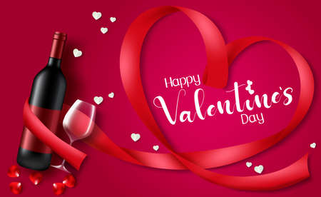 Valentine's day vector design. Happy valentine's day text with ribbon heart shape and dating elements like champagne and wine glass for valentines day. Vector illustration