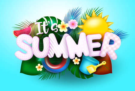 Summer vector concept design. It's summer text in blue background with sun, palm tree leaves, bucket and shovel elements for fun summer season design. Vector illustration