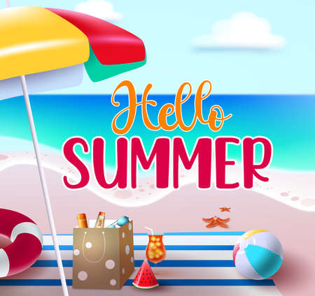 Hello summer vector banner design. Hello summer text in beach seashore background for holiday season vacation with outdoor tropical elements like mat and umbrella. Vector illustration