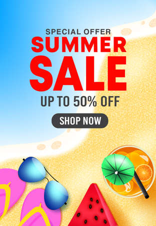 Summer sale vector poster design. Summer sale 50% off shop now text in beach background with tropical season elements for seasonal holiday discount promotion. Vector illustration