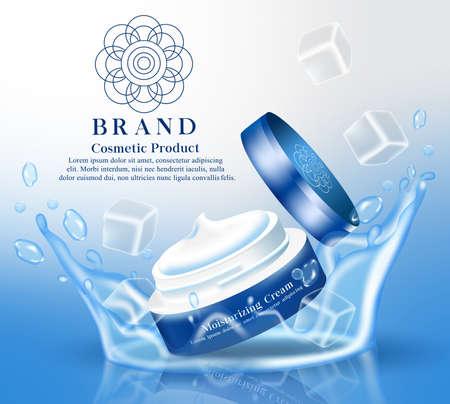 Moisturizing cream cosmetics product vector banner template. Moisturizer cooling cream cosmetic products in tub element for beauty skin care brand mock up advertisement design. Vector illustration Ilustração Vetorial