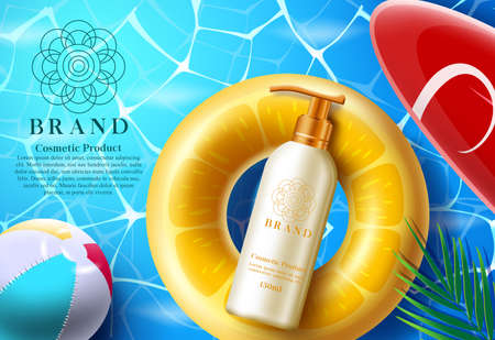 Cosmetics summer product vector banner template. Cosmetic sunscreen products in mock up bottle with floater element and sea background for skin care brand advertisement. Vector illustration