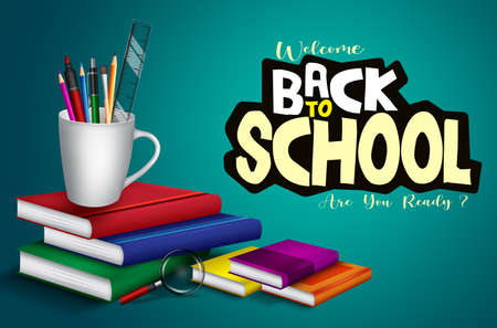 Back to school vector banner background. Welcome back to school text with books, pens and mug holder educational supplies element for class study items design. Vector illustration