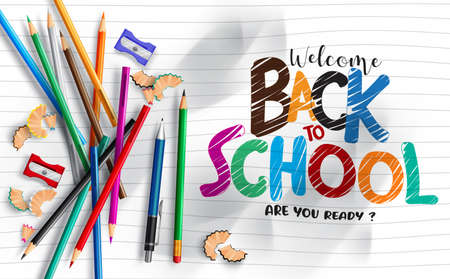 Back to school vector template banner. Welcome back to school text written in crumpled paper sheet with educational supplies items for education study design. Vector illustration