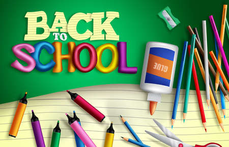 Back to school vector banner background. Back to school text with student supplies like glue, color pens and paper sheet elements for educational study items decoration. Vector illustration Vetores