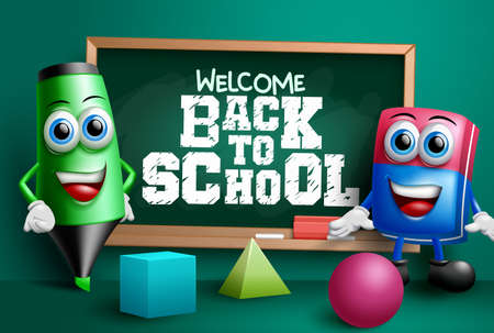 Back to school vector banner design. Welcome back to school text in chalkboard element with educational 3d characters like eraser and marker for class study background. Vector illustration