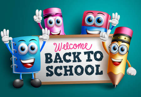 Back to school character vector banner design. Welcome back to school text with educational 3d characters like pencil and notebook for teach and learn activity background. Vector illustration
