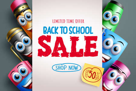 Back to school sale vector banner template. Back to school sale up to 50% off text in white background with study tools 3d characters for educational discount promo advertisement. Vector illustration Ilustración de vector