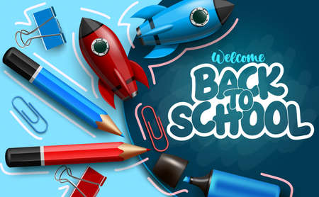Back to school vector banner template. Welcome back to school text in chalkboard space with elements like rocket toy and color pencil for educational study design. Vector illustration
