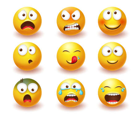 Smiley emoji vector set. Smileys 3d yellow icon in angry, laughing and crying facial expressions isolated in white background for emoticon character collection design. Vector illustration