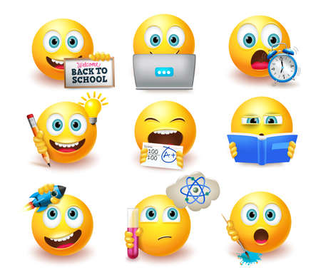 Smileys back to school emoticon vector set. Smiley emoji with educational pose and expressions like studying and thinking for student emojis characters collection design. Vector illustration Ilustracje wektorowe
