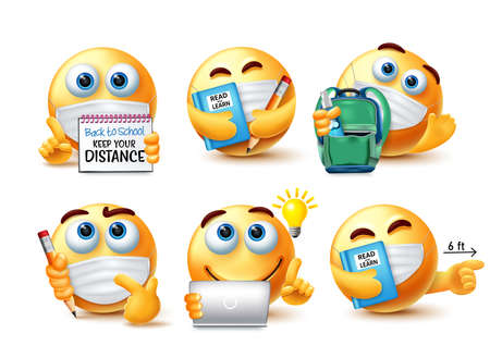Smiley back to school safety guidelines vector set. Emojis 3d student character in safety measure for school education new normal emoticon collection design. Vector illustration