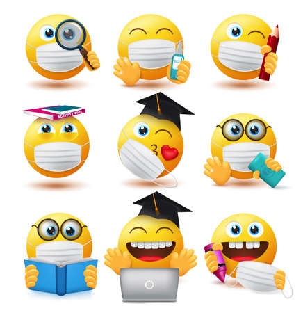 Smiley covid-19 students vector set. Emojis student characters wearing face mask and holding educational elements for school study with safety guidelines emoticon collection design.