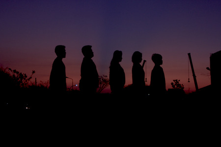 wonderfull: some people are lined up , producing a beautiful silhouette