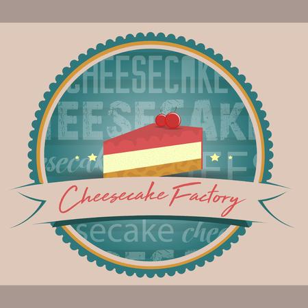 Cheesecake patisserie logo vector design. Illustration