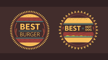 2 fast food themed vintage look vectors