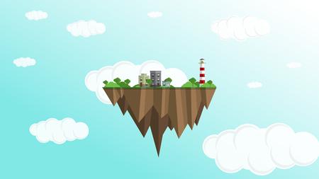 a floating island artwork vector illustration.