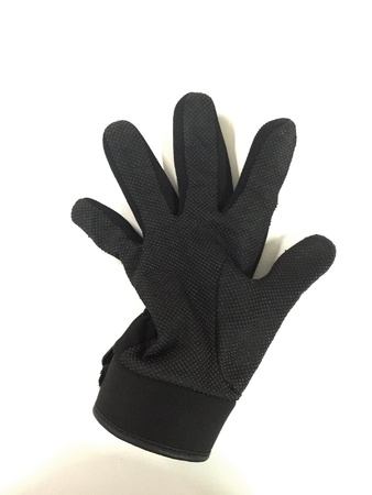 clothes: Black gloves