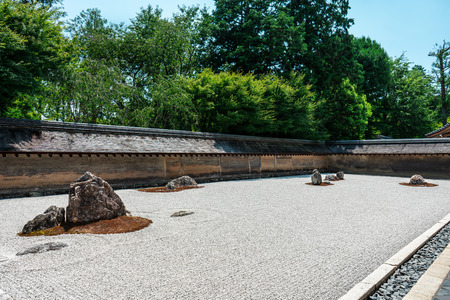 Hiraniwa Zen garden during bright sunny day in Ryoanji Temple, Kyoto, Japan