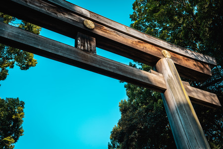 Meiji Jingu Shrine wooden torii entrance gate with trees in the background during bright sunny day with blue sky, Tokyo, Japan Imagens