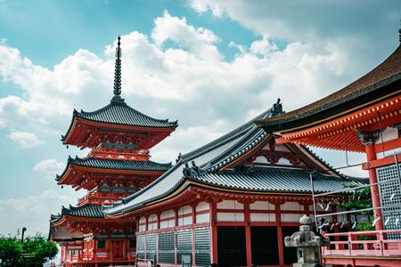 Traditional Japanese pagoda in Kiyomizu-dera Temple complex, Kyoto, Japan