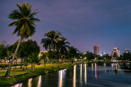 View of Chatuchat park with lake in foreground and palm trees in the background during sunset with pink sky, Bangkok, Thailand Imagens