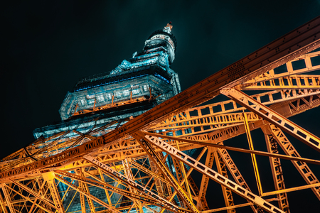 Abstract closeup photo of the iconic Tokyo Tower during night, Tokyo, Japan