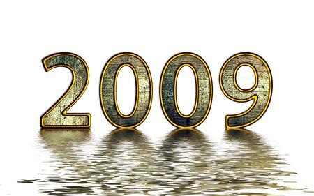 reflexion: 2009 de oro reflexi�n sobre blanco Foto de archivo