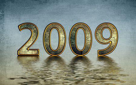 reflexion: 2009 de oro sobre fondo azul reflexi�n