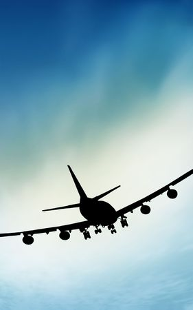departing: Airplane silhouette blue Stock Photo