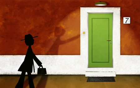 frontdoor: The visitor Stock Photo