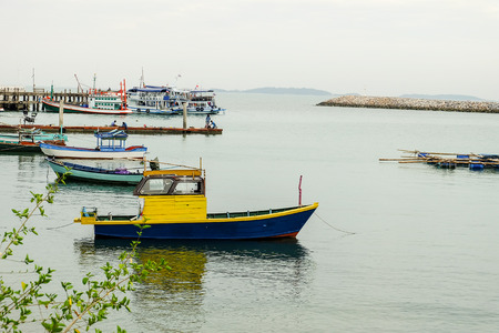 fishery: Fishery boat in harbor then prepare to fishing.