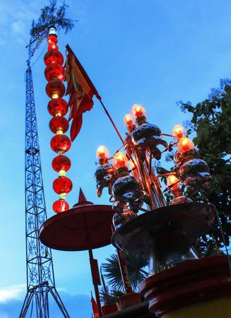 beliefs: A Divine Lantern of Chinese Buddhist religious beliefs in temple, Thailand.