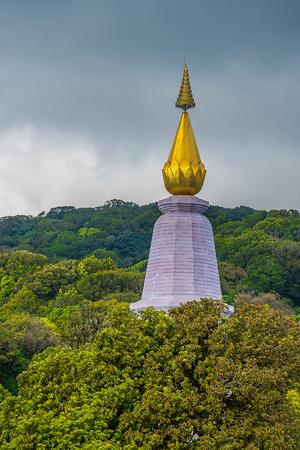 chaingmai: Top of pagoda at Doi Inthanon Chaing-Mai, THAILAND Stock Photo