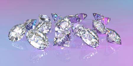 lot of diamonds lying in a pile in neon light, 3d illustration