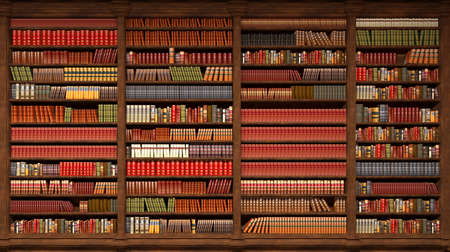 old library with books on the shelves, 3d illustration