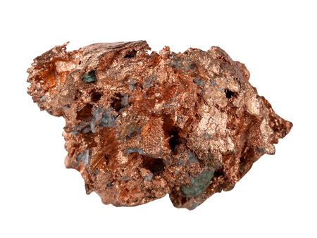 Sample of native copper it is isolated on a white background